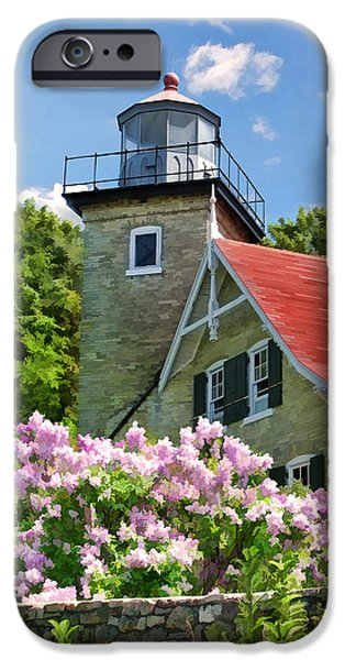 Lighthouse iPhone Cases - Door County Eagle Bluff Lighthouse Lilacs iPhone Case by Christopher Arndt