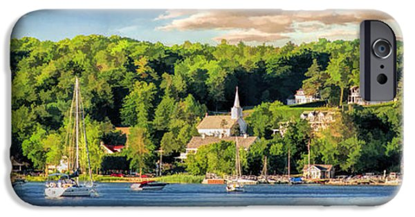 Sailboat iPhone Cases - Door County Ephraim Harbor Sunset  Panorama iPhone Case by Christopher Arndt