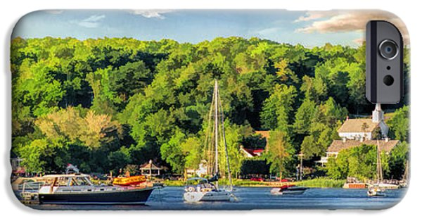 Village iPhone Cases - Door County Ephraim Harbor Sunset  Panorama iPhone Case by Christopher Arndt