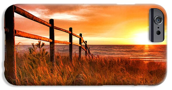 Rays Paintings iPhone Cases - Door County Europe Bay Fence Sunrise iPhone Case by Christopher Arndt
