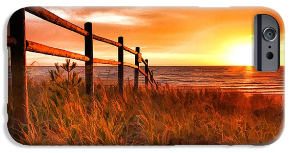 Chicago Paintings iPhone Cases - Door County Europe Bay Fence Sunrise iPhone Case by Christopher Arndt