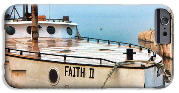 Trawler iPhone Cases - Door County Gills Rock Faith II Fishing Trawler iPhone Case by Christopher Arndt