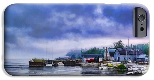Village iPhone Cases - Door County Gills Rock Morning Catch Panorama iPhone Case by Christopher Arndt