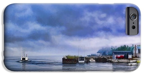 Storm Paintings iPhone Cases - Door County Gills Rock Morning Catch Panorama iPhone Case by Christopher Arndt