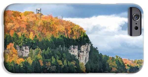 Observation iPhone Cases - Door County Peninsula State Park Bluff Panorama iPhone Case by Christopher Arndt