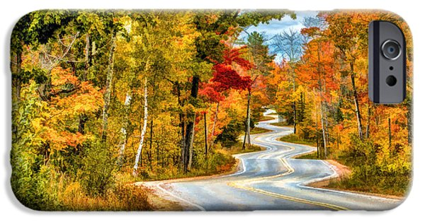 Wisconsin Paintings iPhone Cases - Door County Road to Northport in Autumn iPhone Case by Christopher Arndt