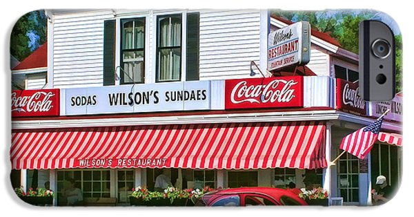 Wisconsin Paintings iPhone Cases - Door County Wilsons Restaurant and Ice Cream Parlor iPhone Case by Christopher Arndt