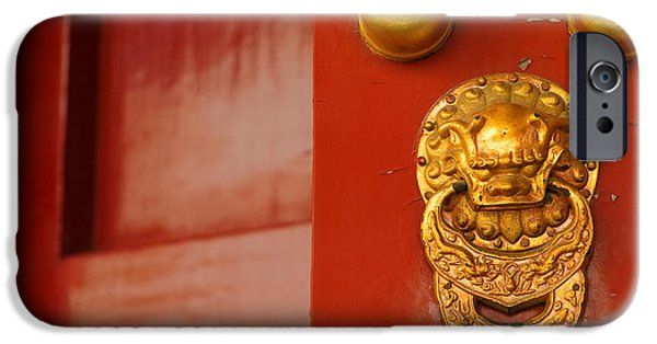 Lions Photographs iPhone Cases - Door Handle iPhone Case by Sebastian Musial