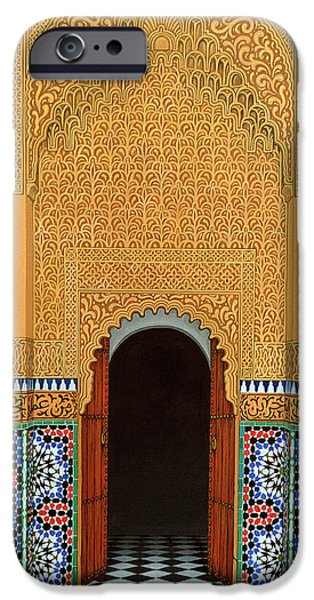 Mosaic iPhone Cases - Door, Marrakech, 1998 Acrylic On Linen iPhone Case by Larry Smart