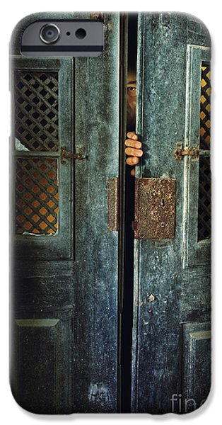 Door Peeking iPhone Case by Carlos Caetano