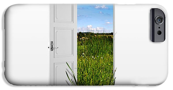 Summer Drawings iPhone Cases - Door to Nature iPhone Case by Aged Pixel