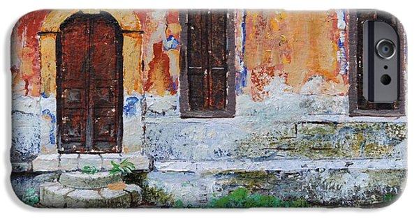 Greek iPhone Cases - Doorway, Corfu, 2006 Oil On Paper iPhone Case by Trevor Neal
