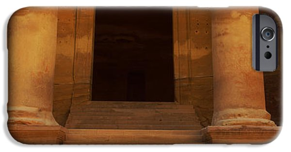 Jordan iPhone Cases - Doorway To The Treasury, Wadi Musa iPhone Case by Panoramic Images