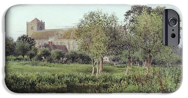 Meadow Photographs iPhone Cases - Dorchester Abbey, Near Wallingford, Autumn Evening iPhone Case by Newton Bennett
