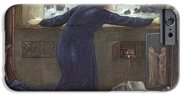 Sea Watch iPhone Cases - Dorigen of Bretaigne longing for the Safe Return of her Husband iPhone Case by Sir Edward Coley Burne-Jones