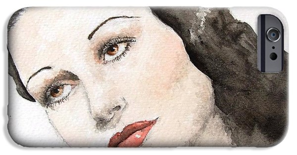 1950s Portraits Paintings iPhone Cases - Dorothy Lamour iPhone Case by Natalia Chaplin