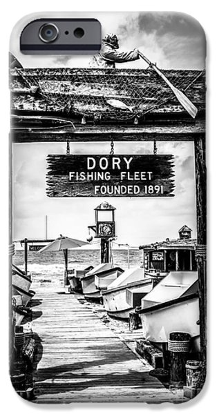 Orange County iPhone Cases - Dory Fishing Fleet Market Black and White Picture iPhone Case by Paul Velgos