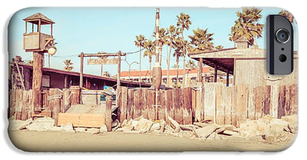 Historical Pictures iPhone Cases - Dory Fishing Fleet Market Newport Beach Panorama iPhone Case by Paul Velgos