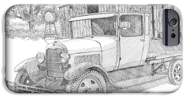 Agriculture Drawings iPhone Cases - Double A Farm iPhone Case by David King