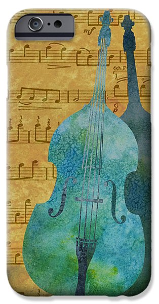 Celebrities Mixed Media iPhone Cases - Double Bass Score iPhone Case by Jenny Armitage