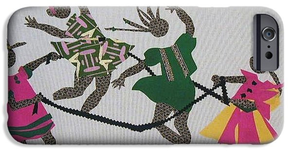 African-americans Tapestries - Textiles iPhone Cases - Double Dutch iPhone Case by Ruth Yvonne Ash