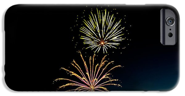 4th Of July iPhone Cases - Double Fireworks Blast iPhone Case by Robert Bales