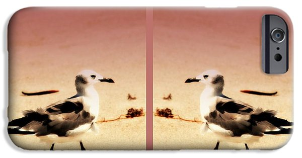 Sea Birds iPhone Cases - Double Gulls Collage iPhone Case by Susanne Van Hulst