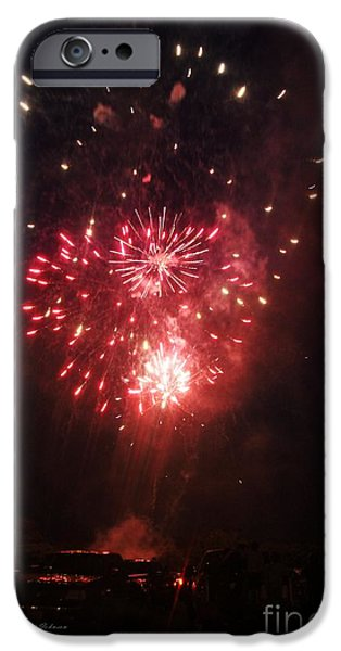 Fireworks iPhone Cases - Double Hearts in sky iPhone Case by Yumi Johnson
