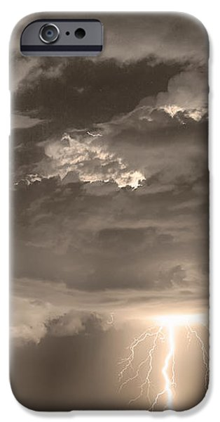 Double Lightning Strikes in Sepia HDR iPhone Case by James BO  Insogna
