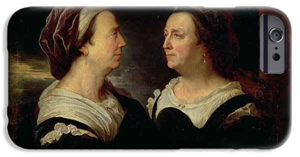 Madame iPhone Cases - Double Portrait Of Marie Serre, The Artists Mother, 1695 Oil On Canvas iPhone Case by Hyacinthe Francois Rigaud