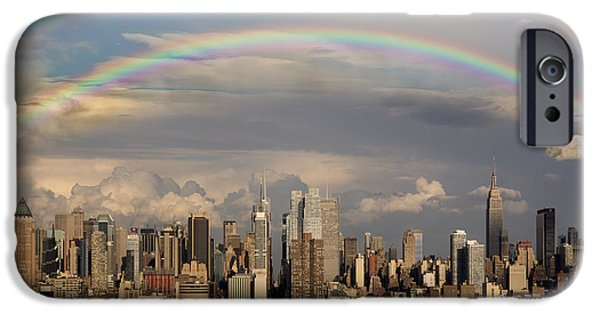 Empire State iPhone Cases - Double Rainbow Over NYC iPhone Case by Susan Candelario