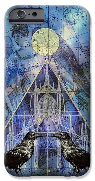 Judy Wood Digital Art iPhone Cases - Double Raven Constellation iPhone Case by Judy Wood
