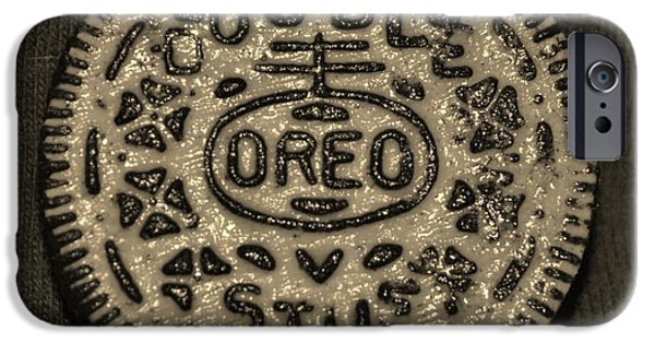Oreo iPhone Cases - DOUBLE STUFF OREO in SEPIA NEGITIVE iPhone Case by Rob Hans