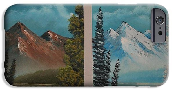 Bob Ross Paintings iPhone Cases - Double Take.......Summer and Winter iPhone Case by Bob Williams