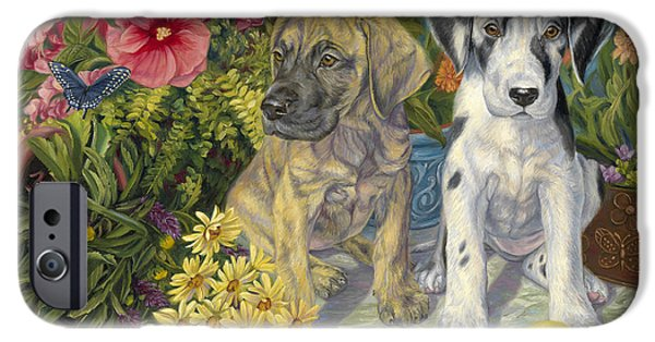 Great Dane Puppy iPhone Cases - Double Trouble iPhone Case by Lucie Bilodeau