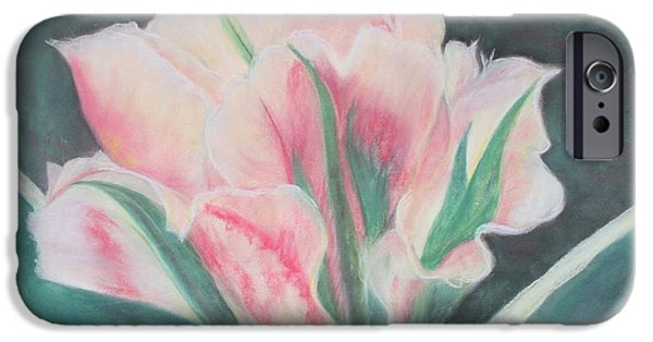 Botanical Pastels iPhone Cases - Double Tulip iPhone Case by Cathy Lindsey
