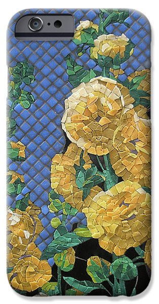 Tile Glass Art iPhone Cases - Double Yellow Hollyhocks iPhone Case by Teresa Tromp