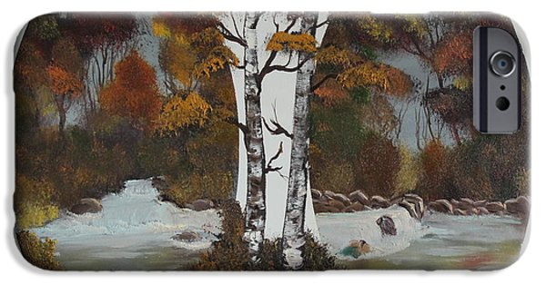 Bob Ross Paintings iPhone Cases - Doubling The Autumn Splendor iPhone Case by Bob Williams