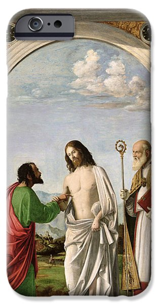Disciples Paintings iPhone Cases - Doubting Thomas with St. Magnus iPhone Case by Giovanni Battista Cima da Conegliano