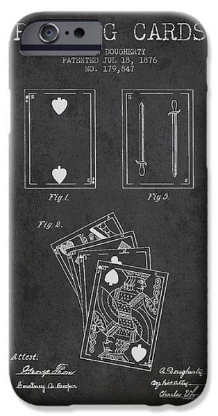 Cards Vintage iPhone Cases - Dougherty Playing Cards Patent Drawing From 1876 - Dark iPhone Case by Aged Pixel