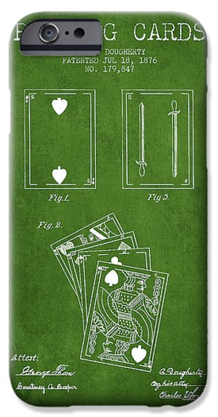 Playing Cards iPhone Cases - Dougherty Playing Cards Patent Drawing From 1876 - Green iPhone Case by Aged Pixel