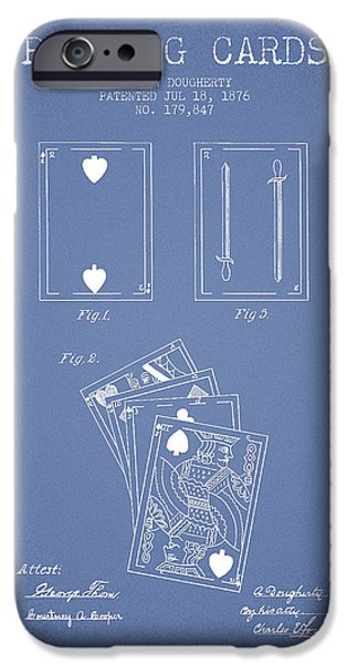 Cards Vintage iPhone Cases - Dougherty Playing Cards Patent Drawing From 1876 - Light Blue iPhone Case by Aged Pixel