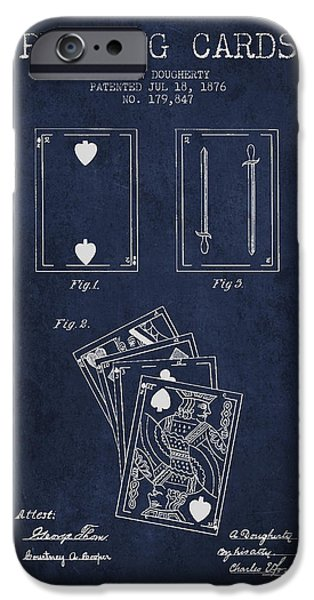 Playing Cards iPhone Cases - Dougherty Playing Cards Patent Drawing From 1876 - Navy Blue iPhone Case by Aged Pixel