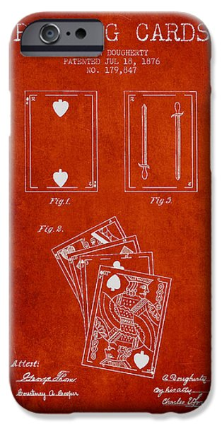 Cards Vintage iPhone Cases - Dougherty Playing Cards Patent Drawing From 1876 - Red iPhone Case by Aged Pixel