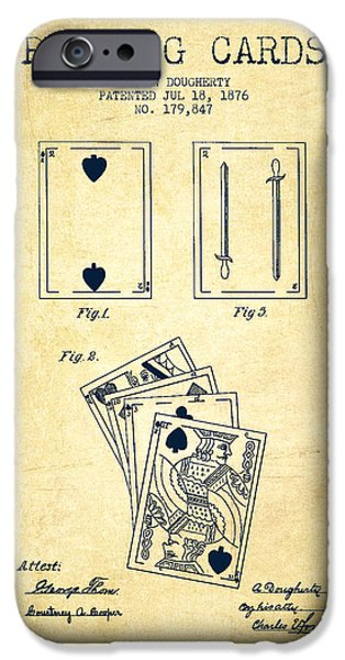 Cards Vintage iPhone Cases - Dougherty Playing Cards Patent Drawing From 1876 - Vintage iPhone Case by Aged Pixel