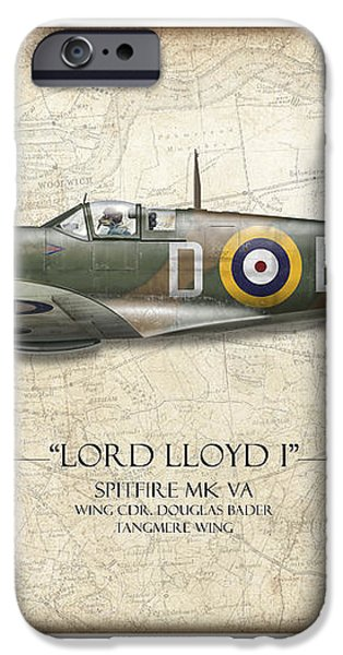 Douglas Bader Spitfire - Map Background iPhone Case by Craig Tinder
