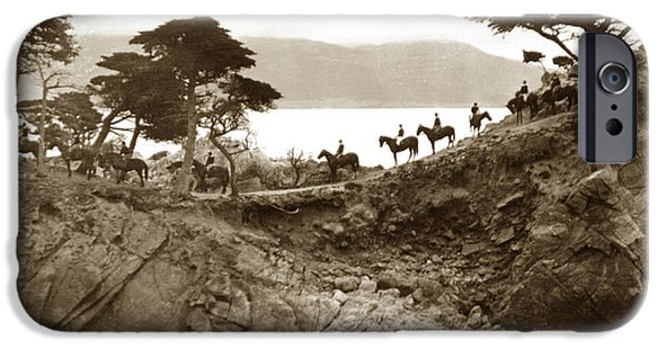 Equestrian Center iPhone Cases - Douglas School for Girls at Lone Cypress tree Pebble Beach 1932 iPhone Case by California Views Mr Pat Hathaway Archives