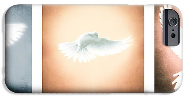 Flight iPhone Cases - Dove In Flight Triptych iPhone Case by Yo \Pedro