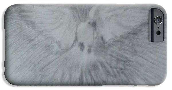Religious Drawings iPhone Cases - DOVE of PEACE iPhone Case by Regina Taormino