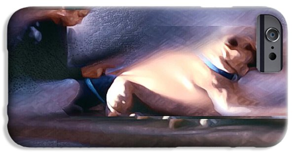 Blue Abstracts iPhone Cases - Down by the Library iPhone Case by Suzy Norris